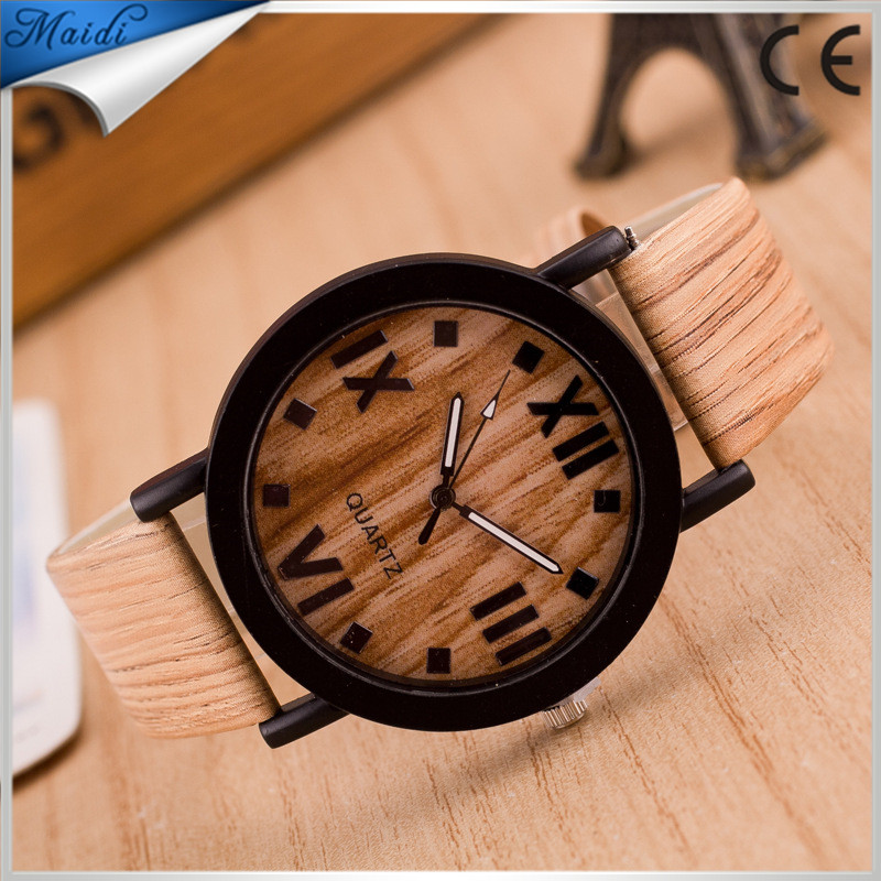 2017 Classical Bamboo Wooden Leather Men Wristwatches High Quality Leather Quartz Men Dress Watch LW029