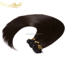 Alibaba <strong>express</strong> 22 inch dark brown flat shape hair extension raw straight virgin remy preuvian nail tip hair extension