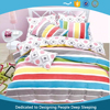 China cheap warm colorful stripes pigment printed 100% cotton sheet set for teenagers
