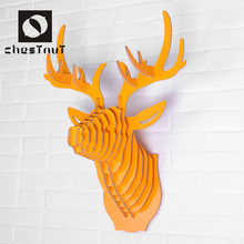 Sculpture wood animal deer head wall hanging
