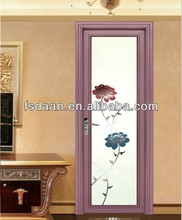 China tradition style washroom aluminum lotus glass swing door