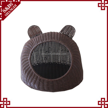 2017 new design chinese manufacture washable PE plastic rattan woven pet bed