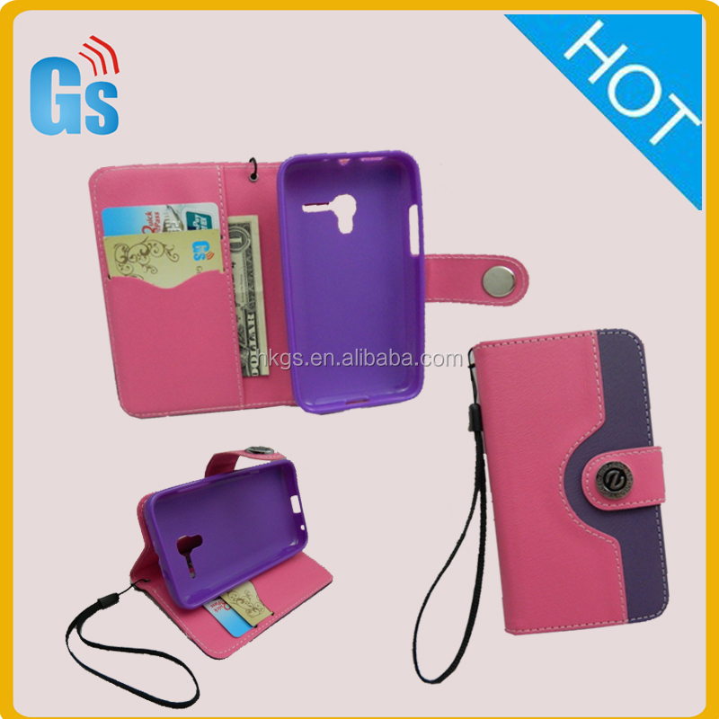 Soft PU Leather Open Window Folio Flip Protective Cell Phone Case For Blu Dash 4.0 Jr D142