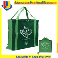 Printed Folding Promotional Non Woven Suppermarket Tote Bags With Logo Design