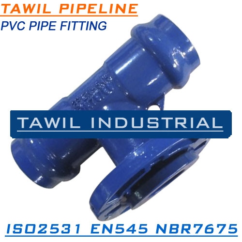 TAWIL ISO2531 FBE coating ductile iron fittings for PVC pipe double socket tee with lossing flanged