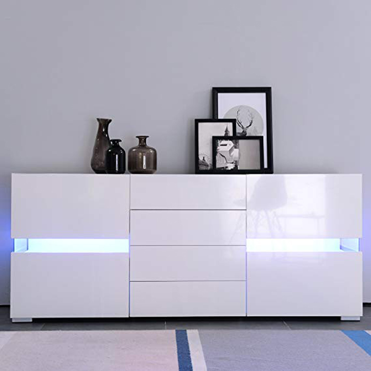 New design wood LED cupboard storage 2 door 4 drawer side cabinet withe gloss Sideboard Cabinet Tableware Storage Credenza