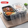 Microwave safe take away leak proof bento box 2 compartment black plastic box with clear lids