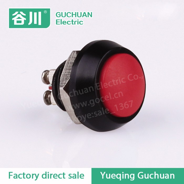 12mm Start Power Self-reset push button switch spherical metal screw 2 feet normally open GQ12B-10/G/J/A