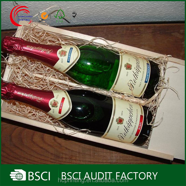 Custom logo wooden wine bottle box 2 bottles wholesale