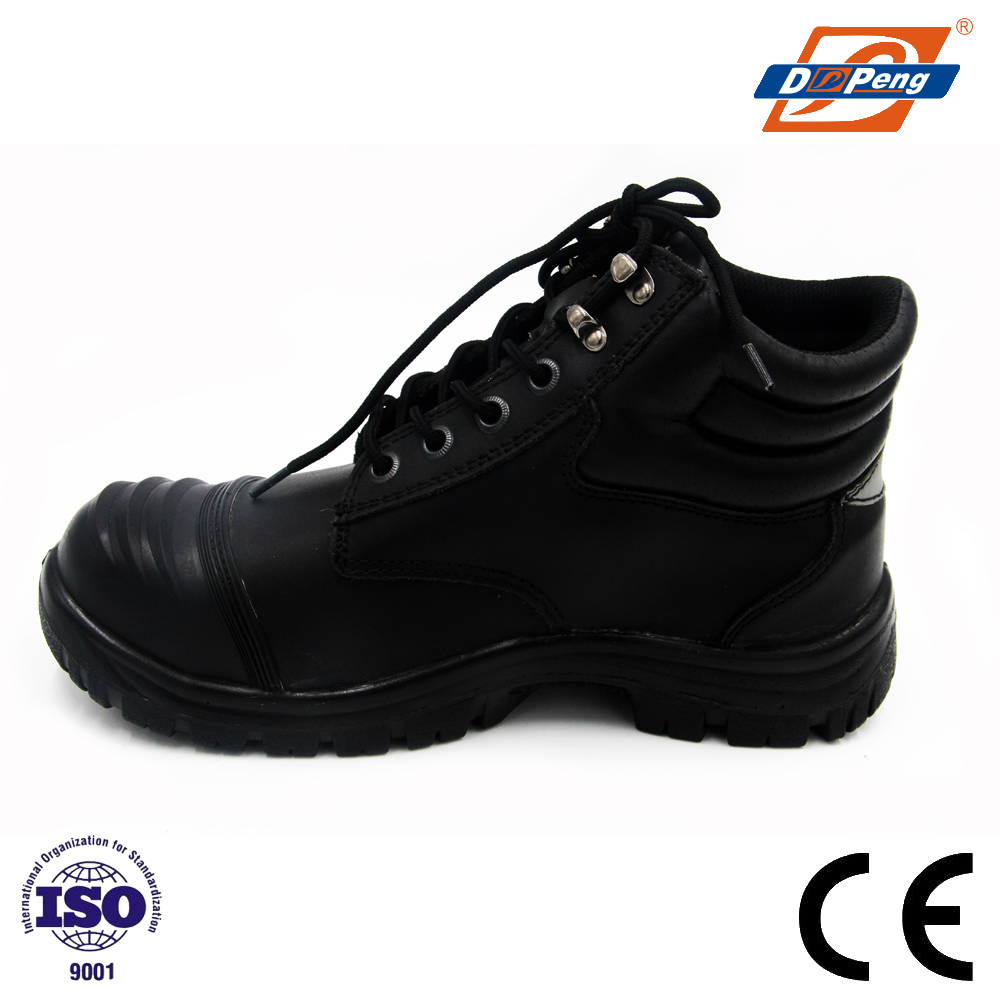 middle cut genuine leather police officer shoes with steel toe cap