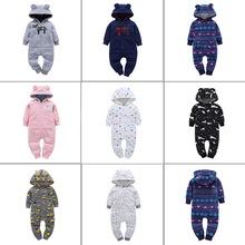 Autumn Winter infant toddler onesie jumpsuit romper climbing clothes warm wholesale newborn baby clothes with fleece hood