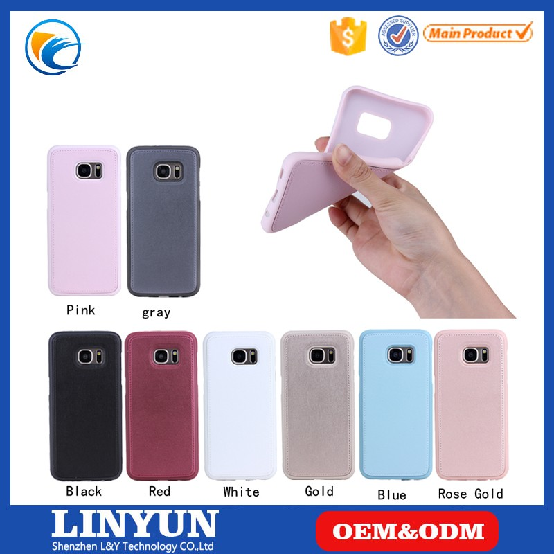 Luxury Soft TPU Holder+Leather Back Mobile Phone Case for iPhone 6s, 8 Colors Available