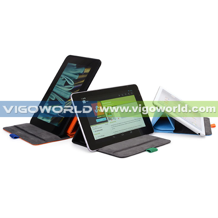 Slim leather sleeve for iPad mini and 7 inch tablet PC with stand elastic pen slot and accessories slot