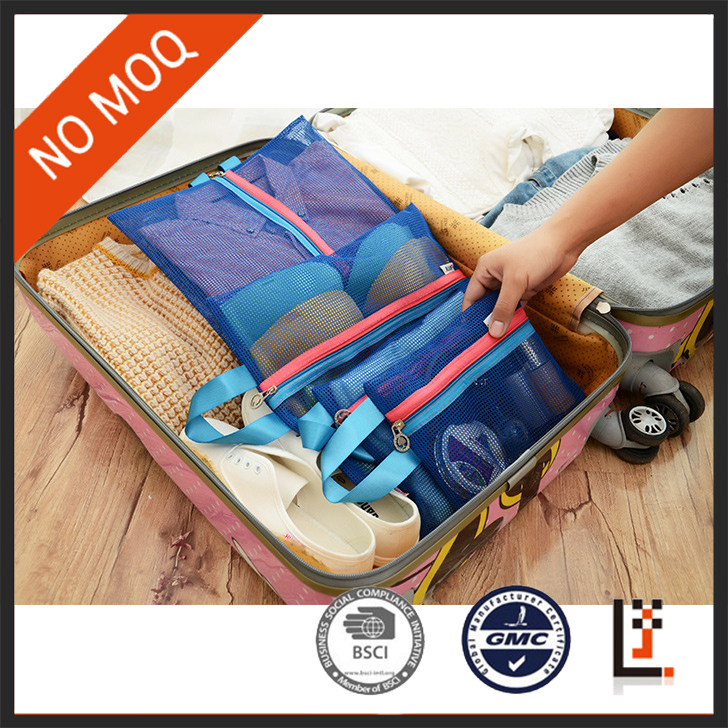 stock nylon poly mesh receive bag with zipper 4 piece in set for <strong>travel</strong>