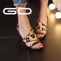 thong sandals black pink leopard color mature sexy women high heel sandals pictures