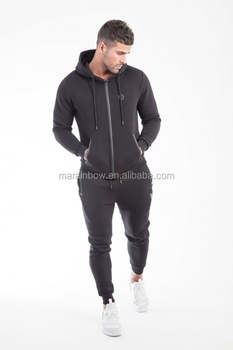 Black Men's Full Tracksuits Gym Fitted Zip up Hoodie Jacket Tapered Jogger Pants Top Quality Tracksuit Tops and Bottoms