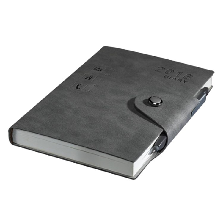 New Product China Leather Cover Paper Notebook with Pen Attached