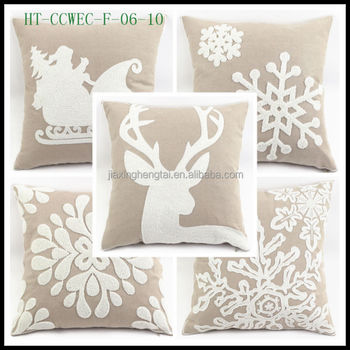 New Design Cotton Canvas Embroidery Decorative Seat Sofa Cushion Cover Wholesale Christmas Throw Pillow Case HT-CCWEC-F-01-10