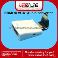 1080P HDMI to VGA + audio converter/adapter cable for PC Notebook/Laptop TV box DVD White