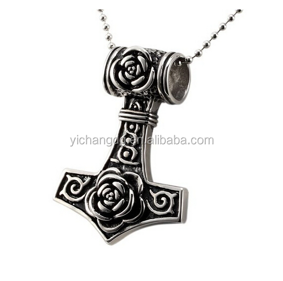 Stainless Steel Rose Flower Tribe Thors Hammer Pendant Biker Mens Necklace