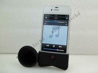 Fashion black mini silicone outdoor speaker for iPhone 4 4S 4G