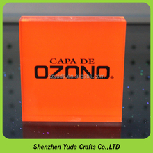 desktop pmma resin block with stamping, new coming printing orange acrylic cube paper weight