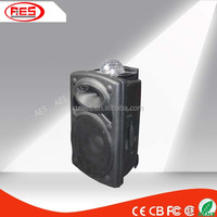 New cool 2015 plastic speaker box 15 inch powered usb battery speaker with disco colorful light