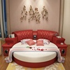 Bedroom furniture with music video 2m top red grain leather round soft mattress bed