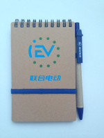 Promotional customized advertising spiral eco mini notebook with pen attached