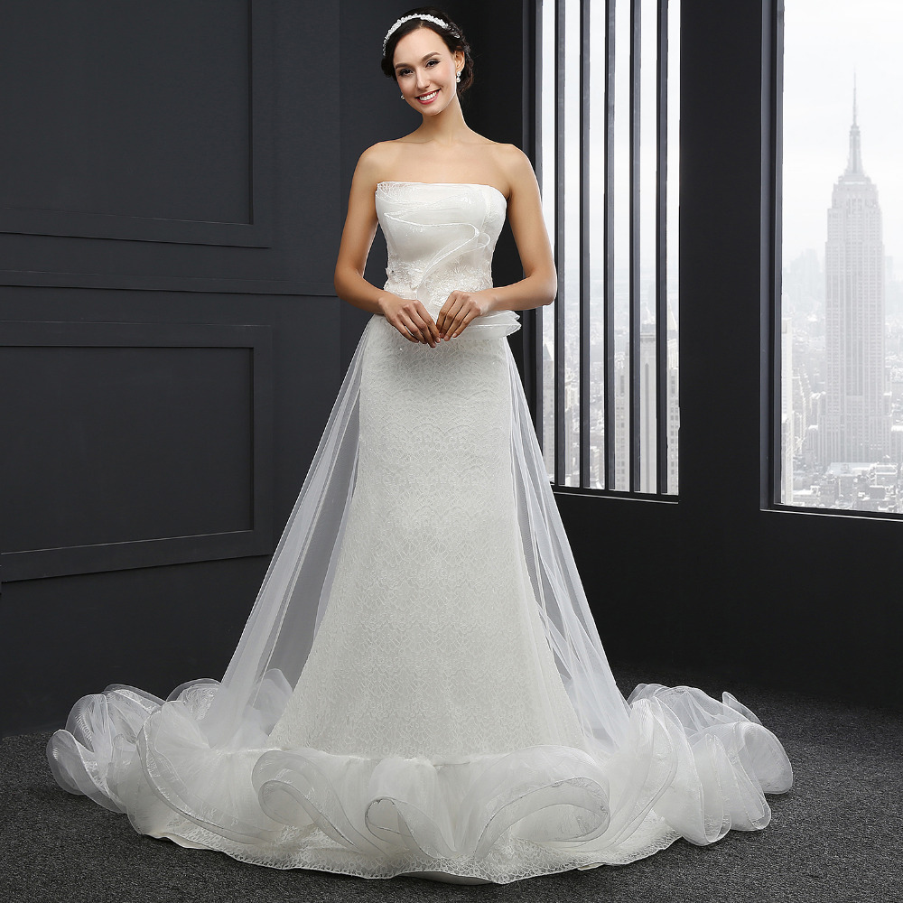 Q-027 High Quality Strapless 2016 Lace Mermaid Wedding Dress