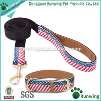 PU Material Dog Leather Collars and Leashes with The United States Flag Pattern Printing