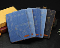 Cowboy jeans denim folio case for ipad3 4 5, for ipad 5 case with stand pocket