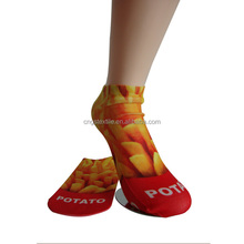 Haining GS custom yellow chips design heat transfer printing polyester women ankle sublimation socks