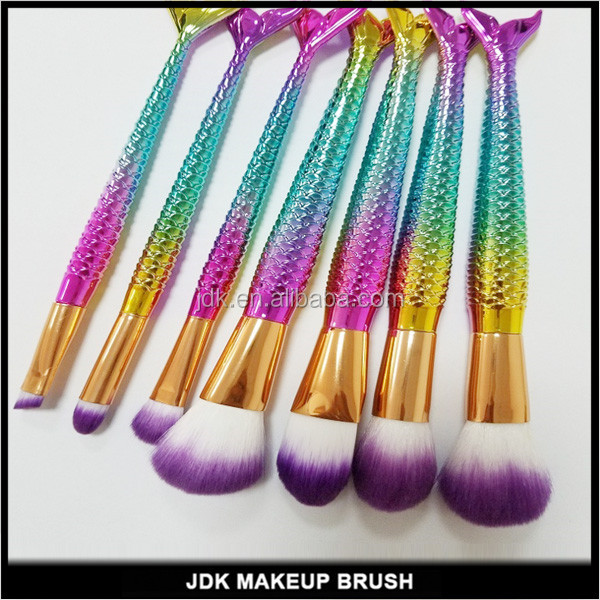 Amazon Rainbow Mermaid Makeup Brushes Set For Foundation Eyebrow Eyeliner Blush Concealer Blending Brushes Cosmetic Beauty Tool