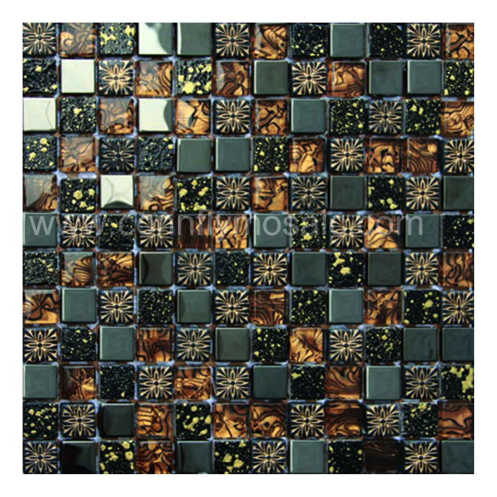 Brown Luster Effect Mosaic Mixed Marble for Interior Decoration