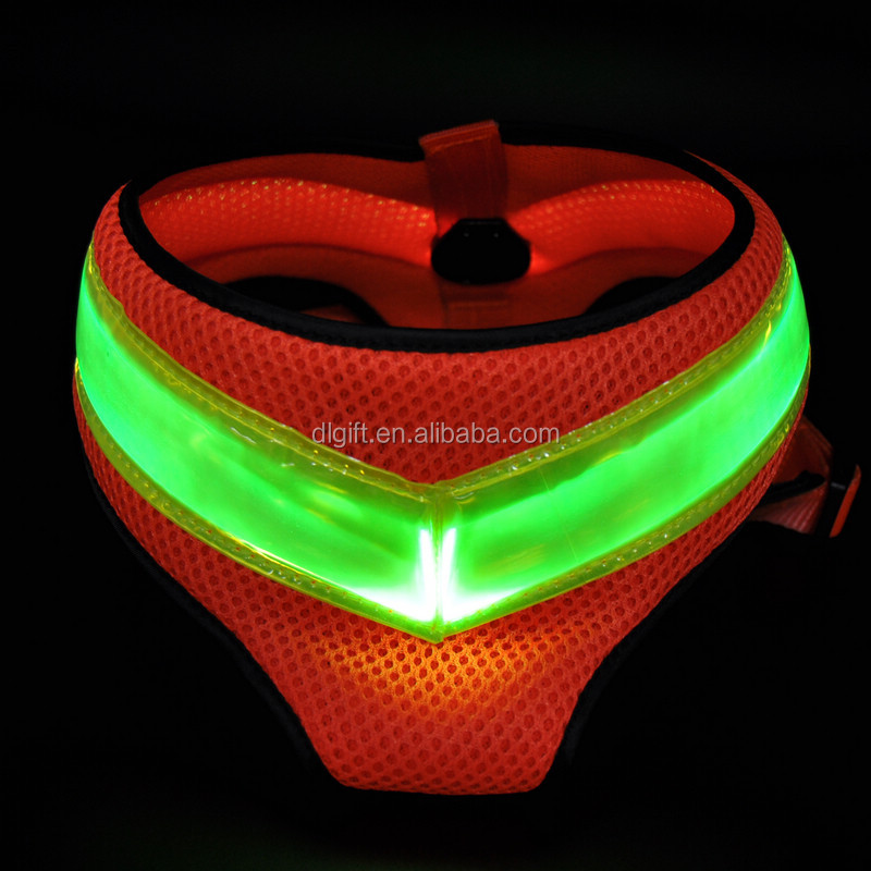 hot! led flashing dog harness leash puppy harness light up in dark night