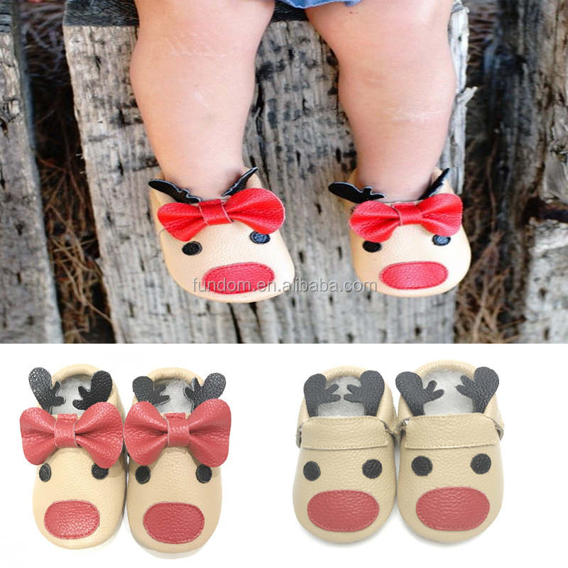 wholesale alibaba unique designs Christmas reindeer baby moccasin shoes infant toddler baby moccs new born First Walker Shoes