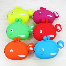 Fish shape silicone coin purse wallet bag for women