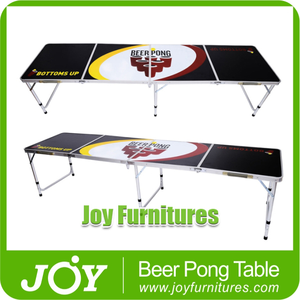Outdoor Camping Aluminum Portable Folding Picnic Table And Chair, 8ft Beer Pong Game Table