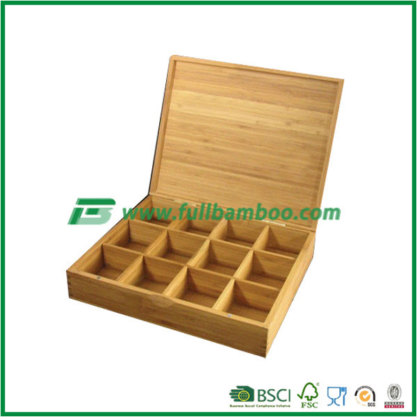 bamboo tea box packaging, wholesale tea caddy, bamboo tea canister with 12 grids