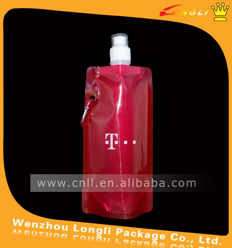 Customized BPA Free Stand up foldable water spout pouches /bottle bags