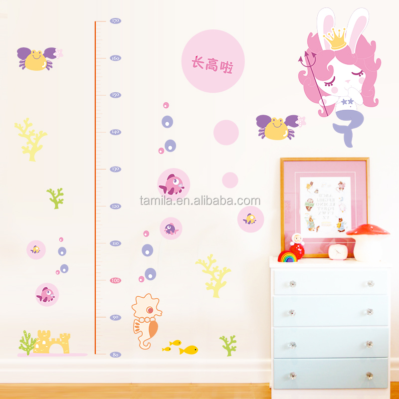 cartoon girl lovely mermaid children's height growth chart wall sticker DIY decorative kids room wall decal