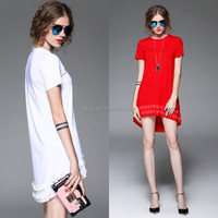 woman sexy dress new design from Alibaba China garment factory low price pretty women short sleeve stitching hem women dress