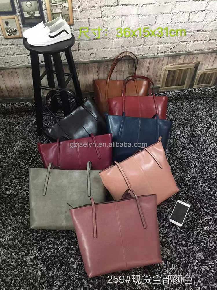 2016 hot sale fashion top quality vintage genuine leather bag imported waxy cow leather handbags women shoulder bags