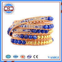 guangzhou gift market 5 Wrap beads Leather Wrap Bracelet Woven gold jewellery