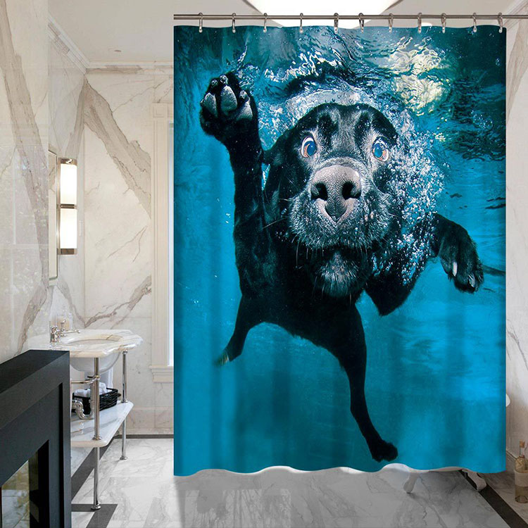 Submarine Shark Printing Non Fading Polyester Fiber Waterproof Window Door 3D Shower Curtain