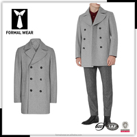 2016 New fashion custom tailored Greay double breasted mens cashmere overcoat
