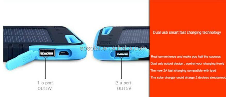 Led light 5000mAh portable used solar panels cells power chargers