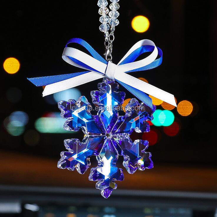 Europe luxury blue purple romantic car crystal snowflake pendant car interior decoration for souvenir wedding birthday gift