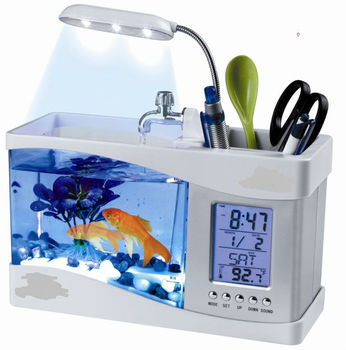 Hot selling usb mini desktop aquarium with clock and pen holder